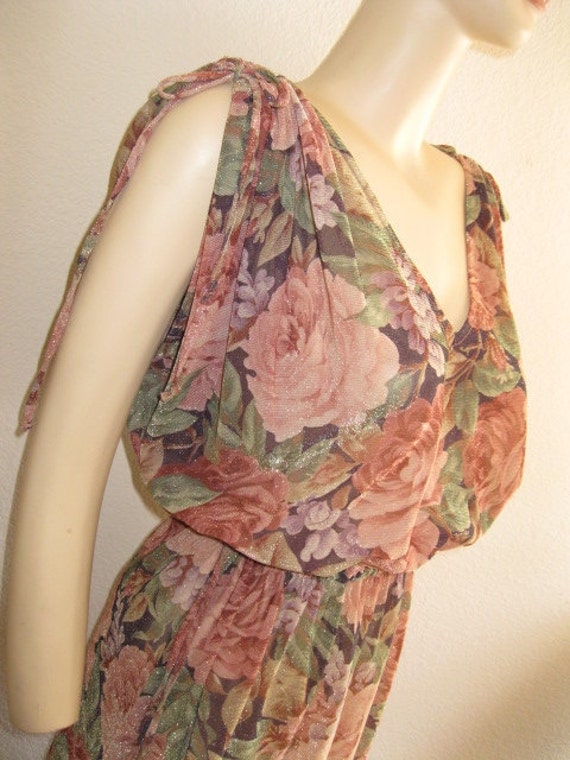 INVENTORY REDUCTION SALE  Boogie The Night Away Sheer Shimmer Floral Disco Dress by Joseph Magnin