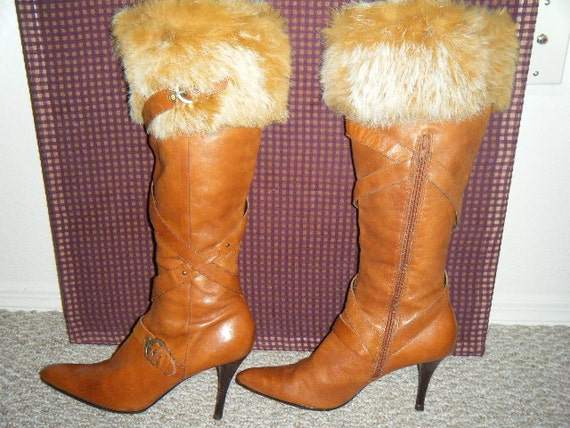 Long Sexy Brown Leather Boots with Rabbit Fur Trim   Size 8 1/2   8.5