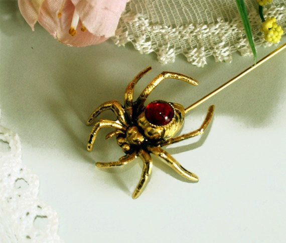 20% Off Sale Vintage Jelly Belly Spider Stick Brooch Pin, Rhinestone Insect & Bug Costume Jewellery, Ruby Red and Gold Broach circa 1950's
