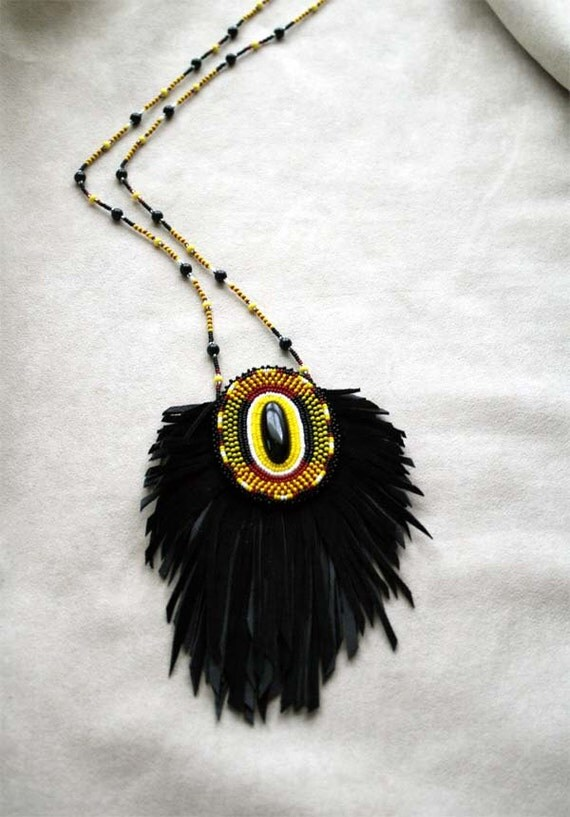 Fringe Leather Pouch Necklace, Bead Embroidery Leather Bag w/ Beaded Chain, Black Tribal Jewellery