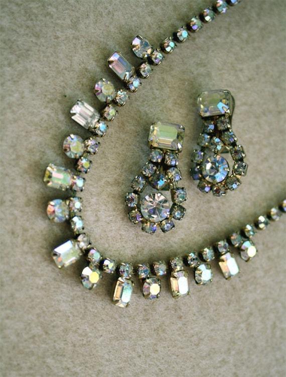 On Sale - Wedding Jewelry Aurora Borealis, Rhinestone Crystal Necklace & Earrings, Vintage Jewelry Gold Plate Bridal Wedding Jewellery