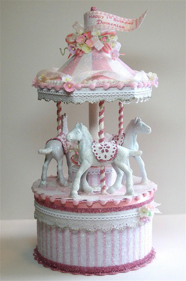 Pretty In Pink Carousel Cake Topper Keepsake Box