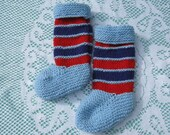 ON SALE - Beautiful Baby Blue Hand Knitted with a touch of Red Socks for a Baby Boy.