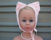 ON SALE - Babies Bonnet - Hand Knitted from 1940's vintage pattern - Pink Cats Ears