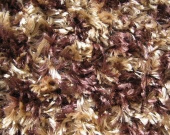 ON SALE - Fun fur scarf Hand Knitted in shades of browns.