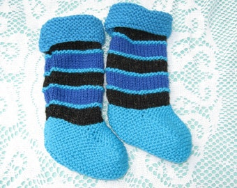 ON SALE - Beautiful Baby Blue Socks Hand Knitted for a Baby Boy