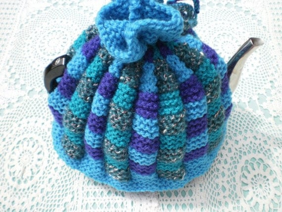 Reserved for Ash Kinchin - Hand Knitted Multicoloured Tea Cosy / Tea Cozy in Blues, Purples and Greens