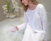 Nightgown - Classic Long Sleeve Long Gown White Dot Cotton Knit by Simple Pleasures Sleepwear
