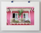 50% OFF - Pink House with Open Windows - 8x12 matted photograph