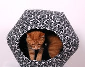 Cat Ball Modern Cat Bed in Black and White Damask Print