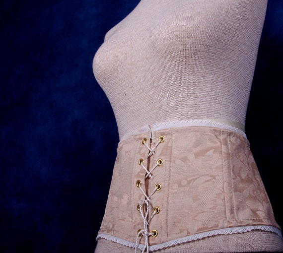 Lace Up Waist Cincher in Ivory Damask - Waist 38-41 - Ready to Ship