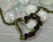 Garnet Wrapped Heart Necklace/ SALE/ Semi Precious Stone