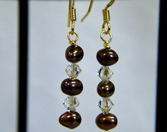 Freashwater Pearl Earrings, Plum Pearls, Crystal Beads, Drop Earrings, Dangle Earrings