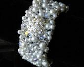 Pearl and Swarovski Crystal Filigree Cuff Bridal Bracelet - STACY