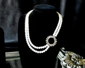 Art Deco Asymmetrical Circle and Pearl Double-Strand Bridal Necklace