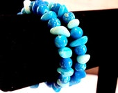 Bright Blue Stone and Marbled Bead Memory Wire Bracelet