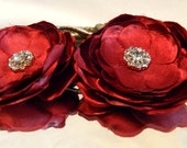 Red Flower and Crystal Hair Pins