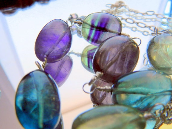 Fluorite Gemstone Wire Wrapped Necklace in Turquoise, Purple, and Green