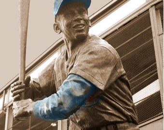 Chicago Cubs Wrigley Field Ernie Banks Canvas Art Print