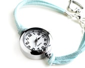 Silver Smooth Circle Light Blue Suede Bracelet Watch (Get 10% OFF with COUPON CODE for Special Sale)