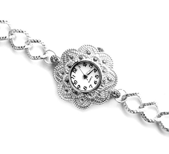 Silver Dotted Flower Quartz Bracelet Watch  (Get 10% OFF with COUPON CODE for Special Sale)