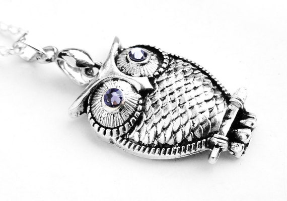 Swarovski Tanzanite Crystal Silver Owl Charm Necklace (Get 10% OFF with COUPON CODE for Special Sale)