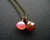 handmade necklace simple pink and brown chalcedony briolette on antiqued brass