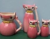 Vintage Pink Ceramic Cat Set, Salt, Pepper, Oil , Japan - Set of 4