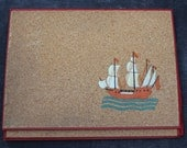 Vintage Cork Sailboat Office Folder