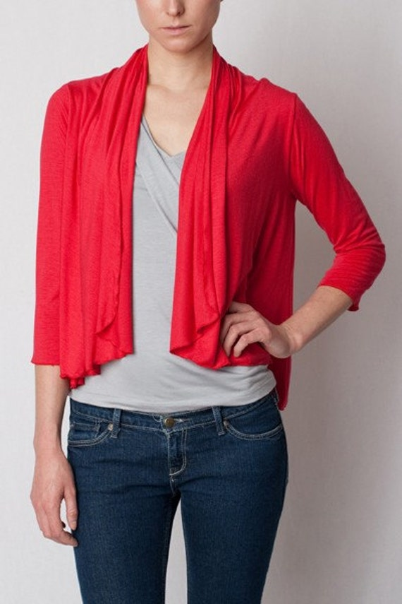 ON SALE - Short Cardigan Wrap - Rayon/Spandex Top - Women's Shirt - ONLY M in Red