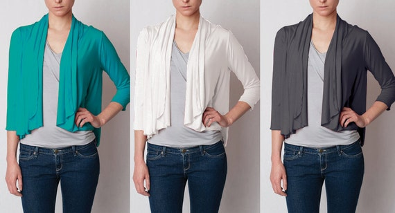 Short Cardigan wrap top women's, S, M, L, XL in 4 colors - perfect gift, great fit, comfortable, flattering, essential