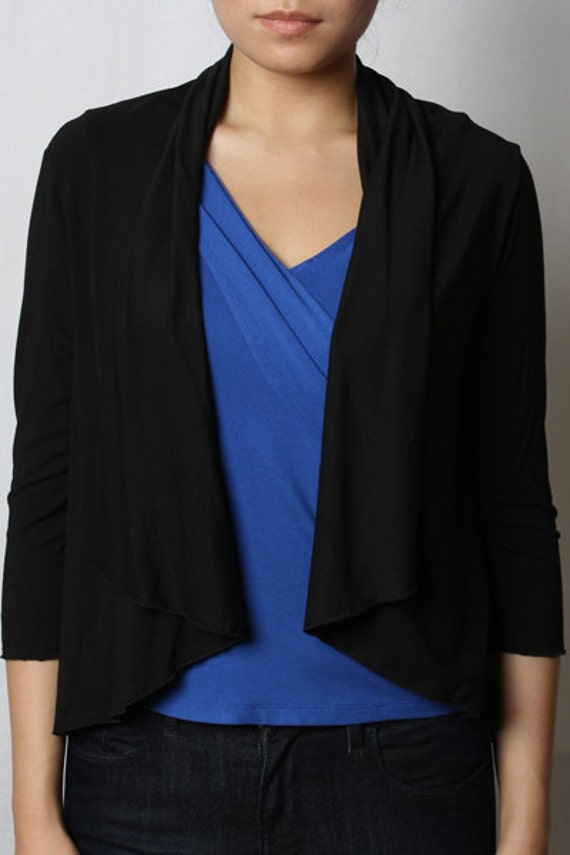 ON SALE - Eco-Friendly Short Cardigan Wrap - Rayon/Spandex - Women's Shirt - in 2 colors