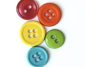BUTTONS 66 Pcs, SUMMER BRIGHTS, Hand-Picked, Combination Pack, Grapefruit Pink, Orange,Lemon, Lime, Turquoise