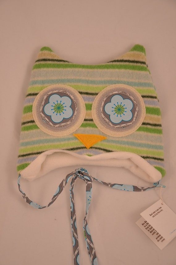 """Hoo Hat -Upcycled Felted Wool Owl Hat -Green & Blue Striped Lambswool -Size Extra Small (15-17"""" head)"""