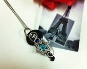Key necklace wire wrapped Steampunk Rose Key Pendant 10