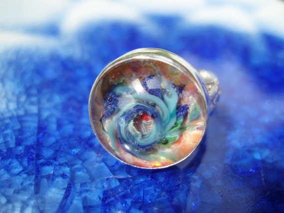 Tidepool- Artisan Lampwork and Sterling Ring- Size 7