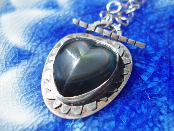 Heart of Darkness- Rainbow Obsidian and Handmade Chain Necklace