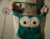 Spring Owl large purse, teal with beige polka dots - made to order