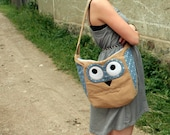 Romantic floral Owl purse/ book bag, tan with blue flowers, summer fashion, everyday bag - made to order
