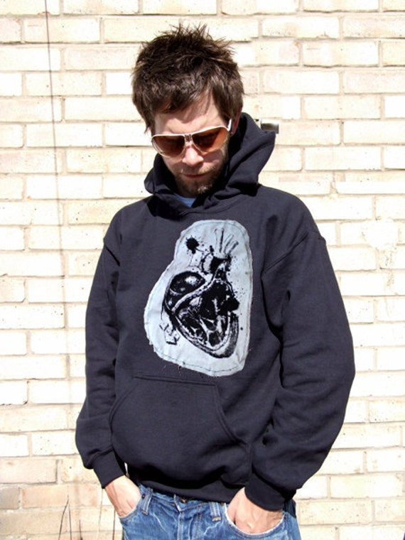 Anatomical Heart Black Linen Patch Hoody Unisex Hoody - screen printed, hand printed, patch hoodie, love heart, anatomical, medical