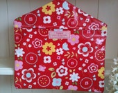 Peg Bag in Red Patterned Oilcloth