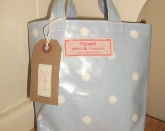 Mini Oilcloth Bag - Light Blue with White Polka Dots