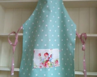 Cotton Apron in Green and Pink Polka Dots with Cath Kidston Pocket