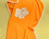 SALE, Christmas in July, Orange Baby Pram Blanket With Cute Hippopotamus Applique, Toddler Bedding, Natural Wool Blanket