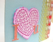 I LOVE YOU 3x4 mini Valentine's card & envelope - bright - blue pink green red with accent heart