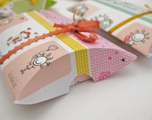 Paper pillow boxes love friendship themed with ribbon - gift wrap idea - set of 4
