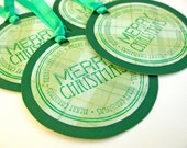Merry Christmas circle hand-stamped gift tags - set of 4 - plaid tartan pattern - favor tags - green with bright precious emerald ribbon