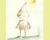 Pinocchio-nursery art -Childrens Art Print -wall decor-8x11,5 llustration.