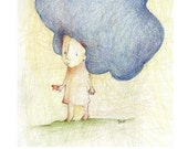 Cute Whimsical colored pencil illustration, Children Decor, Baby Nursery Wall Art 8x11,5,A4 Poster Print.