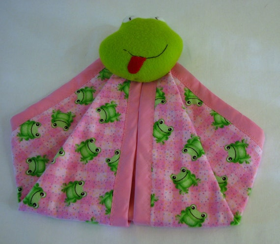 Security Blanket  -  Pink Frogs - pink -  flannel - Clearance